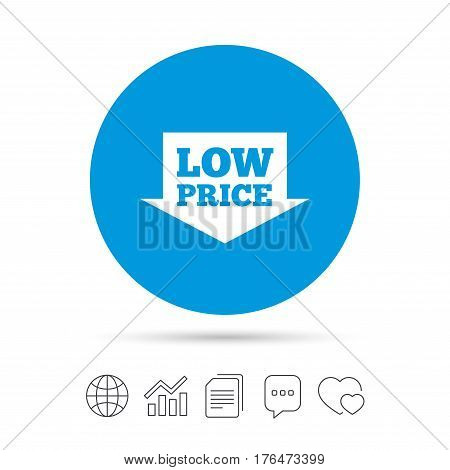 Low price arrow sign icon. Special offer symbol. Copy files, chat speech bubble and chart web icons. Vector