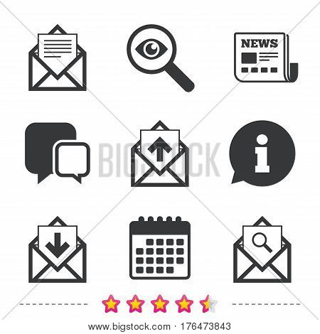 Mail envelope icons. Find message document symbol. Post office letter signs. Inbox and outbox message icons. Newspaper, information and calendar icons. Investigate magnifier, chat symbol. Vector