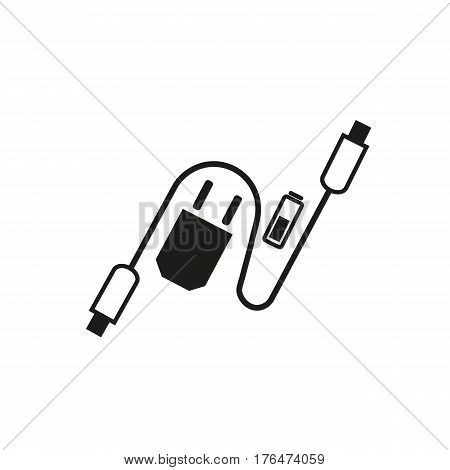 Charging accessories icon. Freehand drawn black white flat style. Adapter charger, usb cable, alkaline battery. Vector symbol of lightning computor peripherals connector or smartphone recharge supply