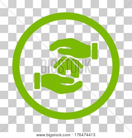 Realty Insurance Hands icon. Vector illustration style is flat iconic symbol eco green color transparent background. Designed for web and software interfaces.