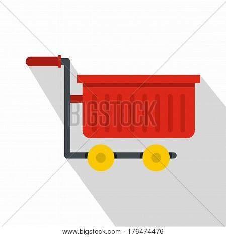 Empty red plastic shopping trolley icon. Flat illustration of empty red plastic shopping trolley vector icon for web isolated on white background