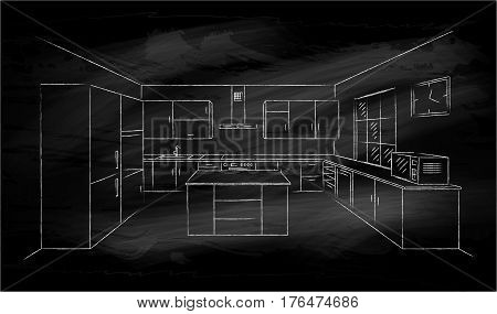 Kitchen interior sketches hand drawing on black chalkboard. Contour vector illustration kitchen furniture and equipment. White chalk drawing. Interior plan with island in perspective. 3D