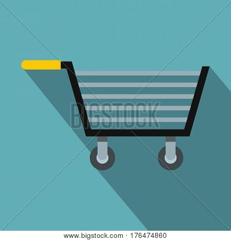 Empty steel trolley icon. Flat illustration of empty steel trolley vector icon for web isolated on baby blue background