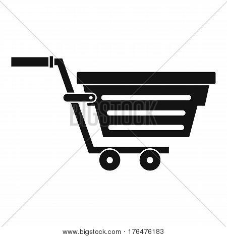 Shopping basket on wheels icon. Simple illustration of shopping basket on wheels vector icon for web