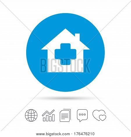 Medical hospital sign icon. Home medicine symbol. Copy files, chat speech bubble and chart web icons. Vector