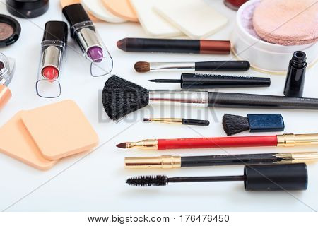 Set Of Makeup Tools On White Background