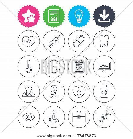 Download, light bulb and report signs. Medicine icons. Syringe, heartbeat and pills symbols. Tooth health, eye and blood donate. Awareness ribbon. Best quality star symbol. Flat buttons. Vector