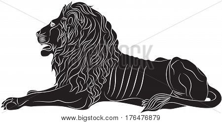 The lying lion - the heraldic symbol used in the flags and coats of arms