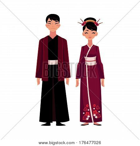 Chinese man and woman in national costumes, embroidered dress and long robe with jacket, cartoon vector illustration isolated on white background. People from China in Chinese national clothes