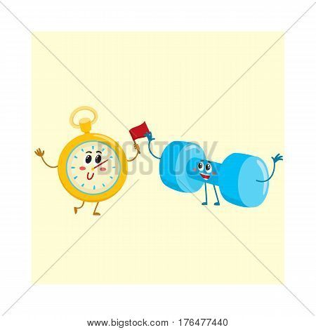 Funny stopwatch and dumbbell characters with human faces, sport equipment, cartoon vector illustration isolated on white background. Funny stopwatch and dumbbell characters, gym training concept