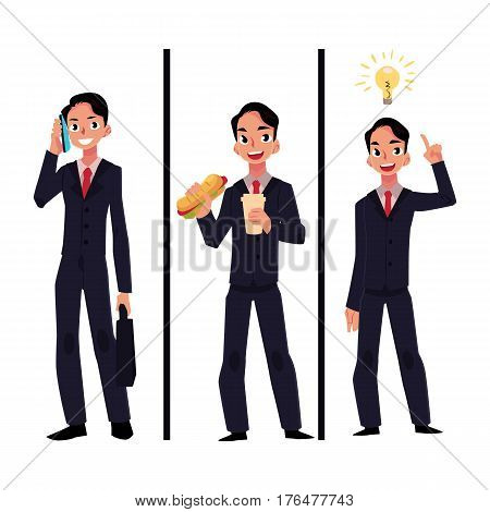 Businessman, manager in business suit, talking by phone, eating lunch and having insight, idea generation process, cartoon vector illustration isolated on white background. Businessman, employee set