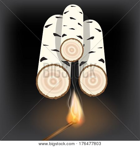 birch hemp . A lit match . Laying wood in the fireplace . Vector illustration