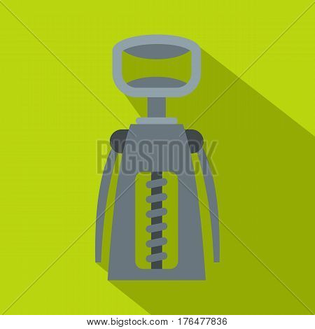 Metal corkscrew icon. Flat illustration of metal corkscrew vector icon for web isolated on lime background