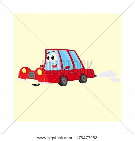 Cute and funny red car, auto character hurrying somewhere, cartoon vector illustration isolated on white background. Funny red car character, mascot hurrying, hasting somewhere at full speed