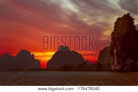 Impressive karst formations on the coast of Thailand near Krabi