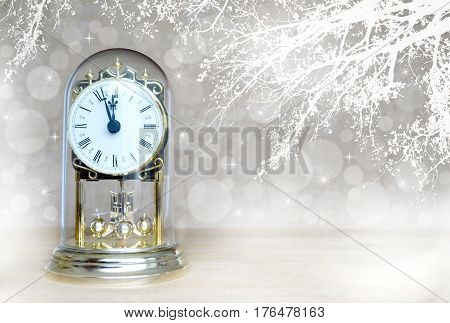 Happy New Year: Antique clock striking midnight