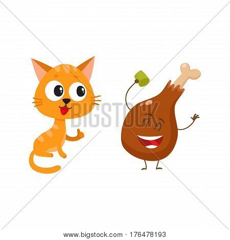 Cute and funny red cat, kitten character looking heartily at chicken stick, drumstick, cartoon vector illustration isolated on white background. Funny red cat, kitten character and piece of steak