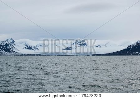 Glacier at Svalbard in Norway going in to the ocean