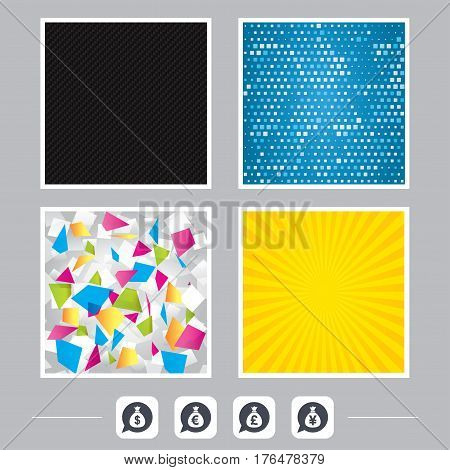 Carbon fiber texture. Yellow flare and abstract backgrounds. Money bag icons. Dollar, Euro, Pound and Yen speech bubbles symbols. USD, EUR, GBP and JPY currency signs. Flat design web icons. Vector