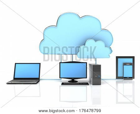 3d Cloud computing concept on white background