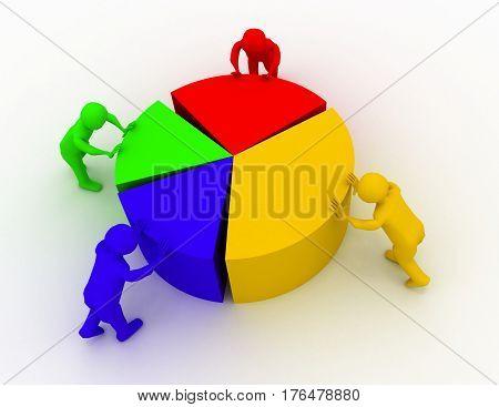 chart shift people n. 3d render illustration
