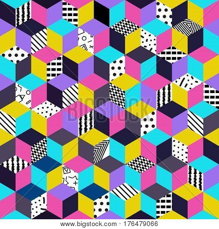 Memphis seamless pattern 80s-90s-vector illustration. Colorful geometric seamless pattern of cubes with different geometrical patterns. Bright colored cubes.