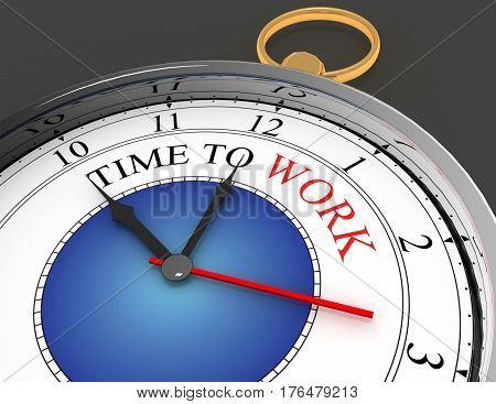 time to work concept clock closeup. rendered illustration