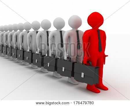 many 3D men with suitcase standing in line
