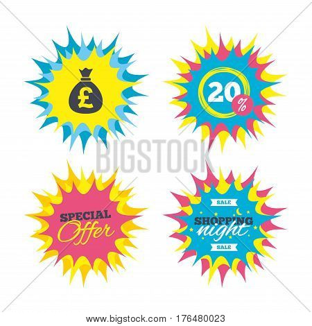 Shopping offers, special offer banners. Money bag sign icon. Pound GBP currency symbol. Discount star label. Vector