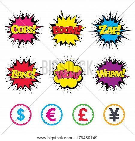 Comic Wow, Oops, Boom and Wham sound effects. Dollar, Euro, Pound and Yen currency icons. USD, EUR, GBP and JPY money sign symbols. Zap speech bubbles in pop art. Vector