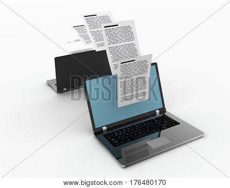 Files transfer between laptops. 3d rendered illustration.