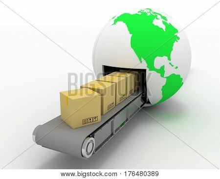 International package delivery and parcels shipping concept. 3d illustration