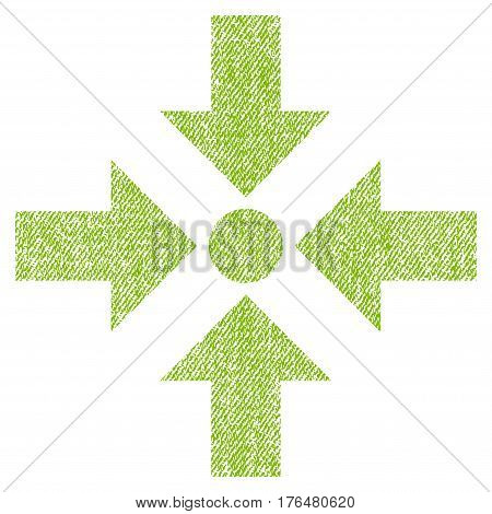 Shrink Arrows vector textured icon for overlay watermark stamps. Fabric light green vectorized texture. Symbol with dirty design. Rubber seal stamp with fiber textile structure.