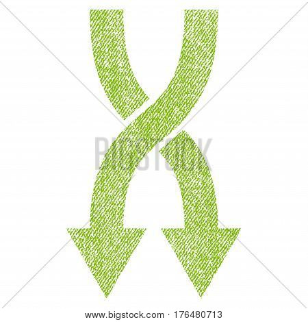 Shuffle Arrows Down vector textured icon for overlay watermark stamps. Fabric light green vectorized texture. Symbol with dust design. Rubber seal stamp with fiber textile structure.