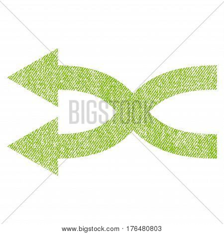 Shuffle Arrows Left vector textured icon for overlay watermark stamps. Fabric light green vectorized texture. Symbol with unclean design. Rubber seal stamp with fiber textile structure.