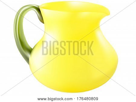 Decorative jug with yellow glass isolated white background