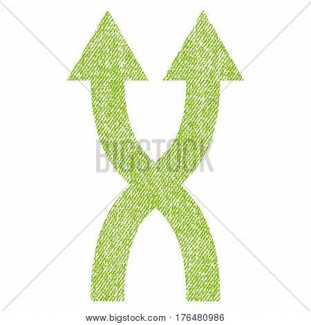 Shuffle Arrows Up vector textured icon for overlay watermark stamps. Fabric light green vectorized texture. Symbol with dirty design. Rubber seal stamp with fiber textile structure.