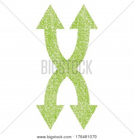 Shuffle Arrows Vertical vector textured icon for overlay watermark stamps. Fabric light green vectorized texture. Symbol with dust design. Rubber seal stamp with fiber textile structure.