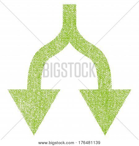 Split Arrows Down vector textured icon for overlay watermark stamps. Fabric light green vectorized texture. Symbol with scratched design. Rubber seal stamp with fiber textile structure.