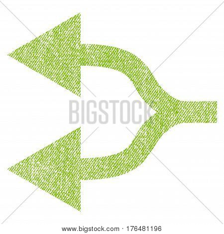 Split Arrows Left vector textured icon for overlay watermark stamps. Fabric light green vectorized texture. Symbol with dirty design. Rubber seal stamp with fiber textile structure.