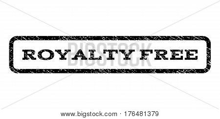 Royalty Free watermark stamp. Text caption inside rounded rectangle with grunge design style. Rubber seal stamp with dirty texture. Vector black ink imprint on a white background.