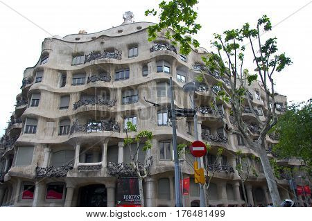 Barcelona, Spain - May 1, 2012. Visiting La Pedrera, Vila Mila By Antonio Gaudi.