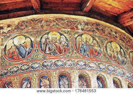 Moldova, Romania - July 4,  2014. Visiting The Monastery Voronet. Details Of Painted Exterior Walls.