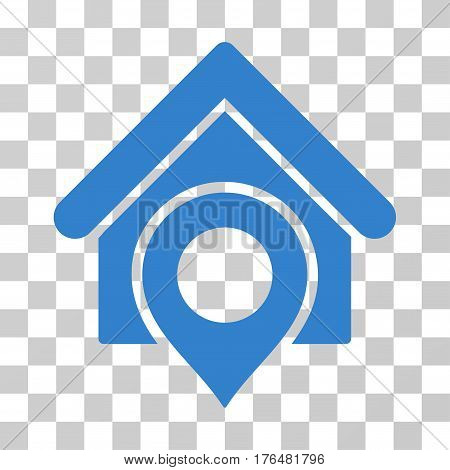 Realty Location icon. Vector illustration style is flat iconic symbol cobalt color transparent background. Designed for web and software interfaces.