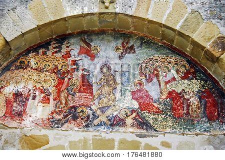 Moldova, Romania - July 4,  2014. Visiting The Monastery Sucevita, Moldavian Region. Exterior Paint.