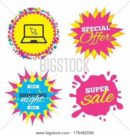 Sale splash banner, special offer star. Laptop sign icon. Notebook pc with cursor pointer symbol. Shopping night star label. Vector