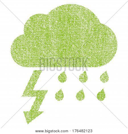 Thunderstorm vector textured icon for overlay watermark stamps. Fabric light green vectorized texture. Symbol with unclean design. Rubber seal stamp with fiber textile structure.