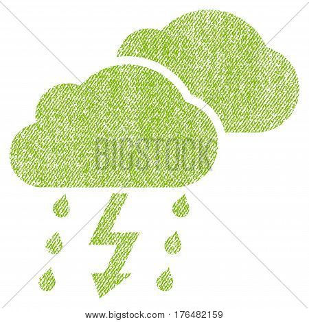 Thunderstorm Clouds vector textured icon for overlay watermark stamps. Fabric light green vectorized texture. Symbol with scratched design. Rubber seal stamp with fiber textile structure.