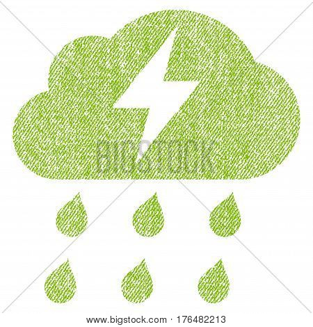 Thunderstorm vector textured icon for overlay watermark stamps. Fabric light green vectorized texture. Symbol with dirty design. Rubber seal stamp with fiber textile structure.