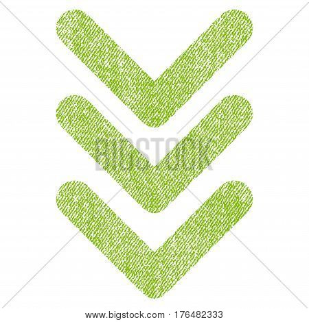 Triple Arrowhead Down vector textured icon for overlay watermark stamps. Fabric light green vectorized texture. Symbol with scratched design. Rubber seal stamp with fiber textile structure.